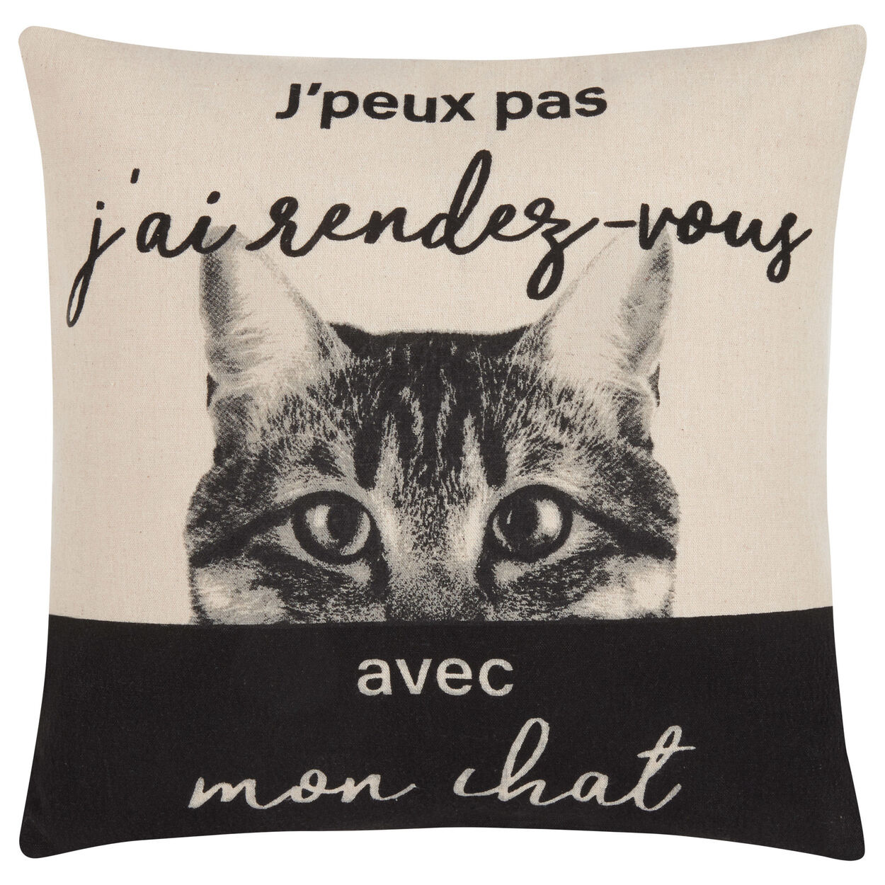 "Mon Chat Decorative Pillow Cover 18"" X 18"""