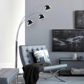 3-Head Chrome Floor Lamp