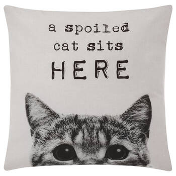 "Spoiled Cat Decorative Pillow Cover 18"" X 18"""
