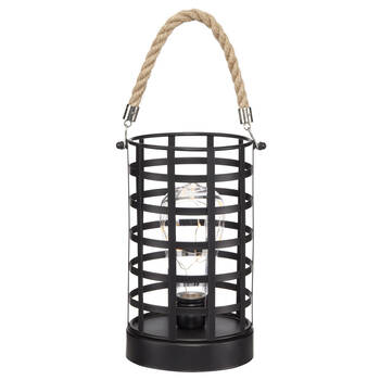 Metal and Rope LED Lantern Table Lamp