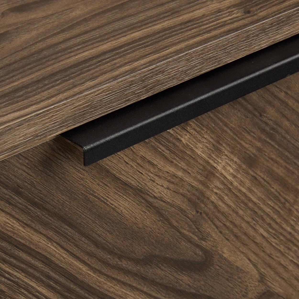 Two-Door Chevron Wood and Metal Buffet