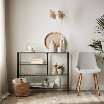4-Shelf Tempered Glass and Metal Console Table