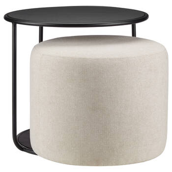 Black Side Table with Ottoman