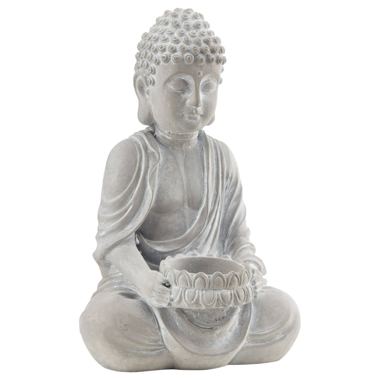 Porte-chandelle Bouddha en ciment