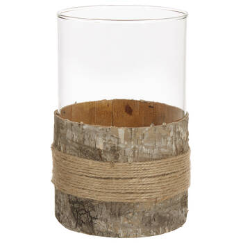Glass and Wood Bark Candle Holder