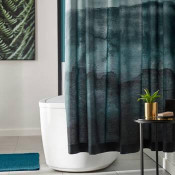 Teal Watercolour Shower Curtain