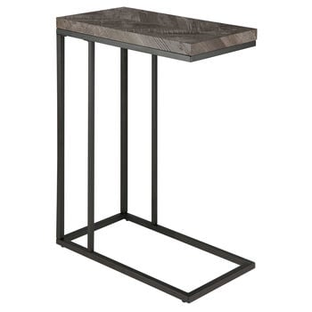Wood and Iron Side Table with Chevrons