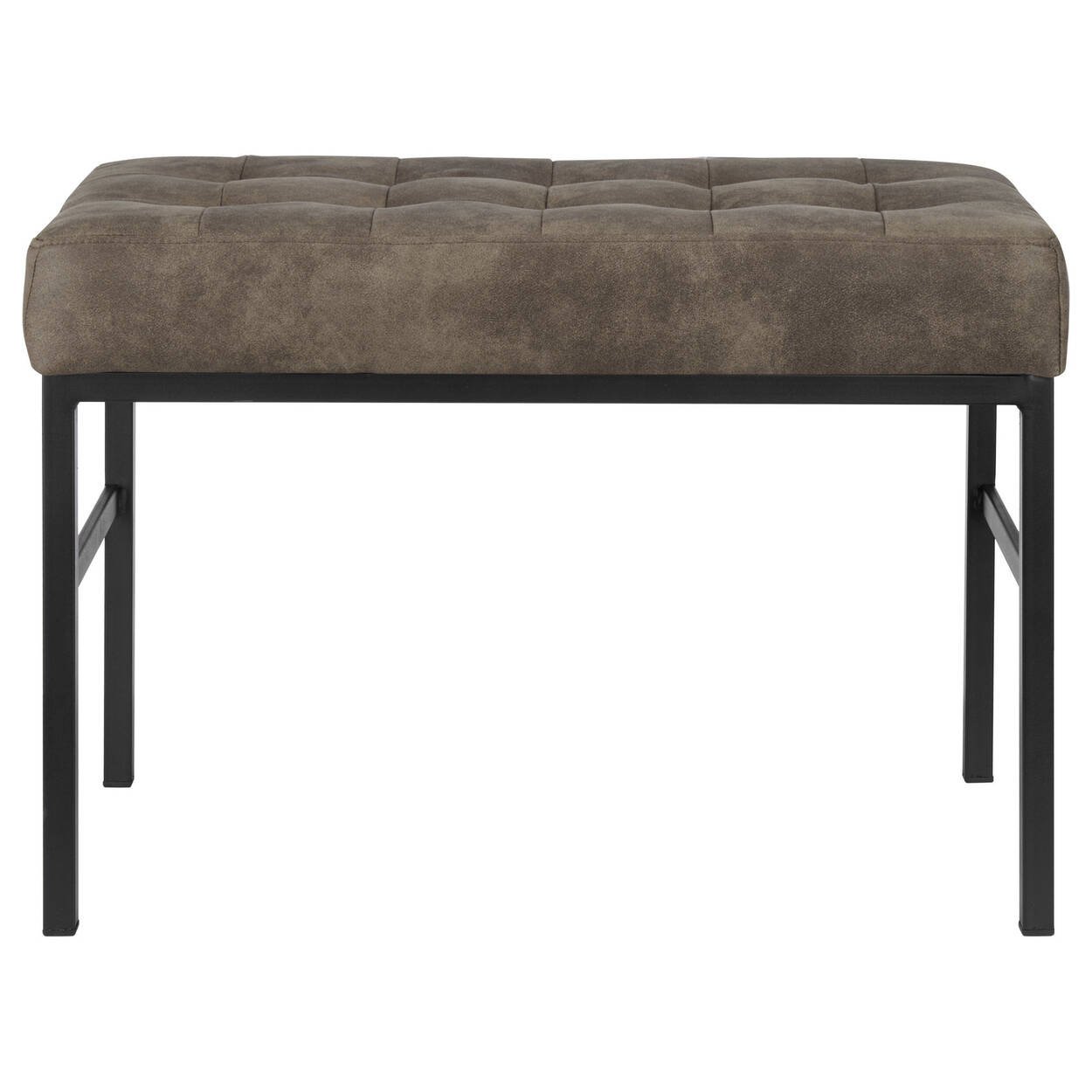 Textured Faux Leather Bench with a Metal Base