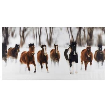 Running Horses Printed Canvas