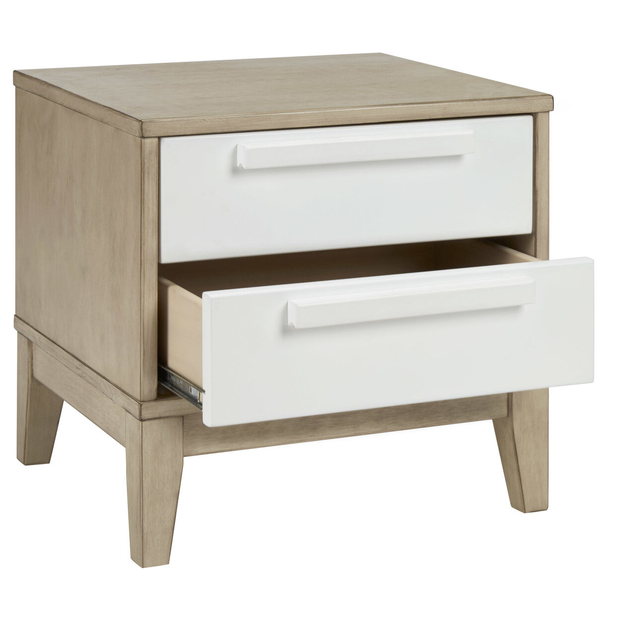Wood Nightstand with Drawers
