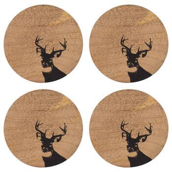 Set of 4 Deer Disk Coasters