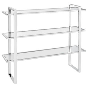 3-Shelf Glass and Chrome Console Table