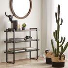 3-Shelf Veneer and Metal Console Table
