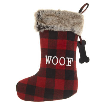 Woof Plaid and Faux Fur Stocking