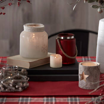 Frosted Glass Snowflake Candle Holder