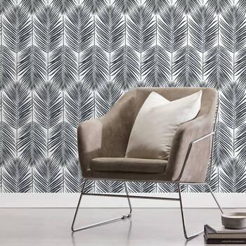 Black Leaves Peel-&-Stick Wallpaper