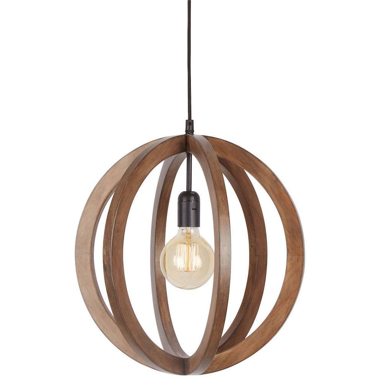 lampe suspendue chandelier avec sph re en bois. Black Bedroom Furniture Sets. Home Design Ideas