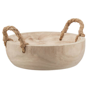 Decorative Wood Bowl with Rope Handles