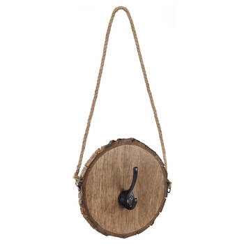 Round Log Hook with Rope