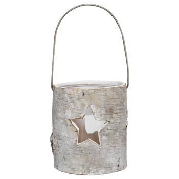 Wood Bark Lantern with Star Cutout
