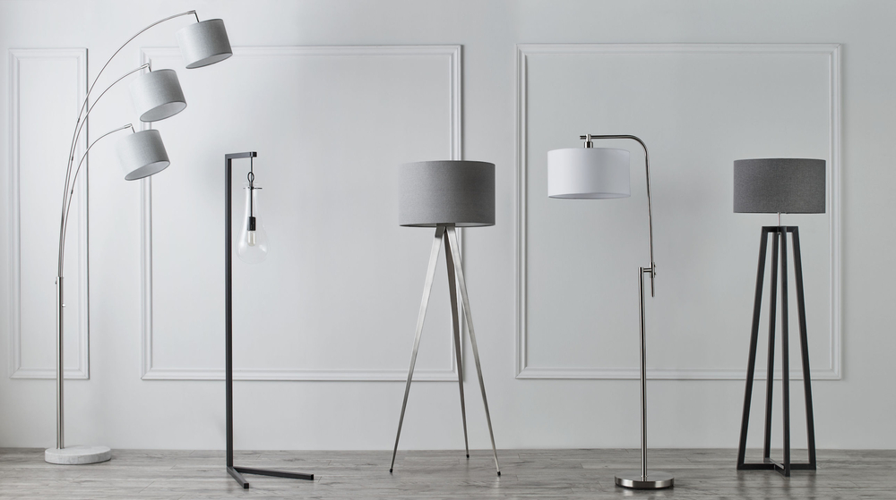 Industrial V-Base Metal Floor Lamp