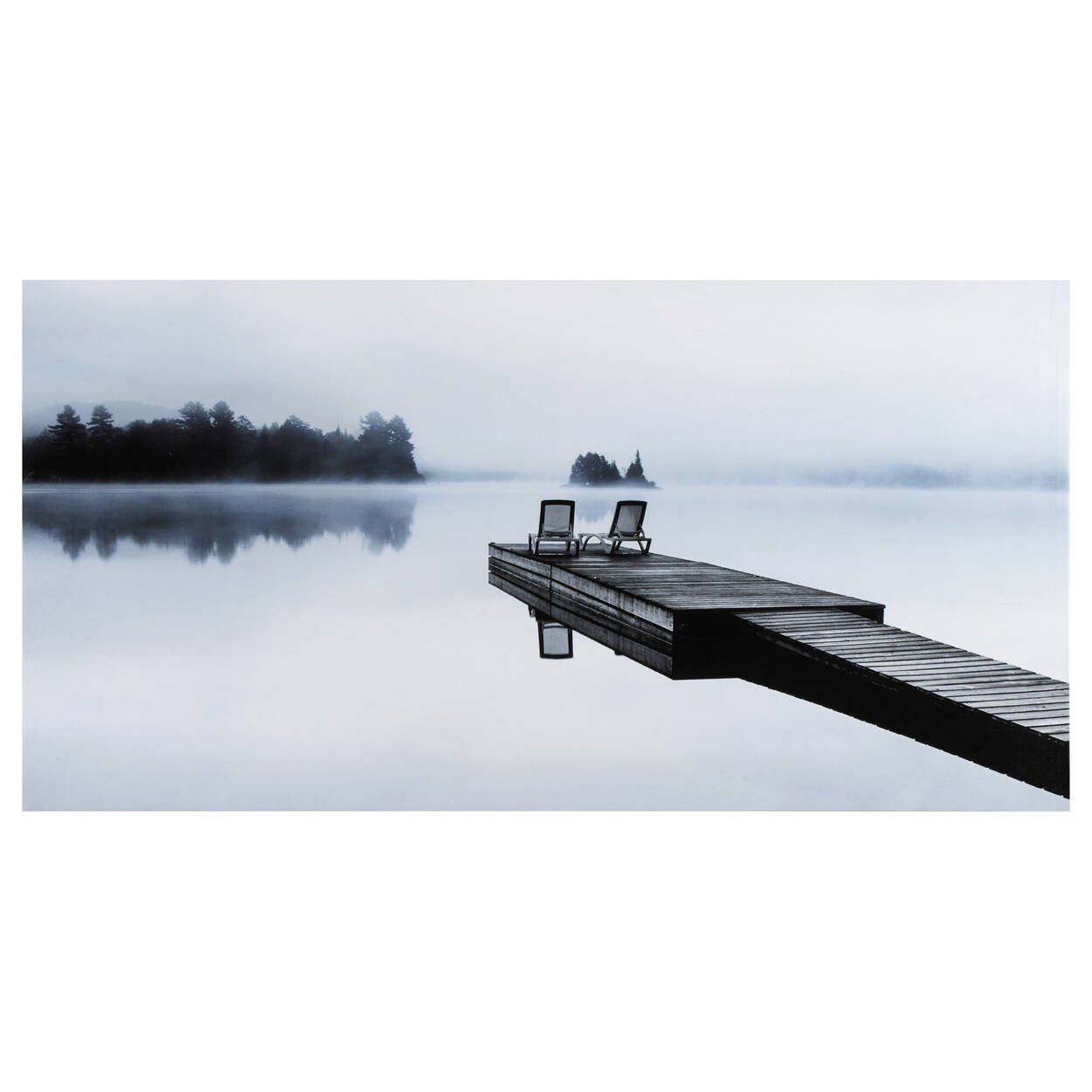 Two Chairs on a Dock Printed Canvas
