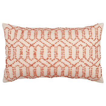 "Beaded Lumbar Decorative Pillow 12"" X 20"""