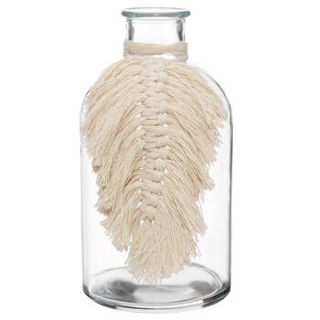 Glass Table Vase with Macramé Feather