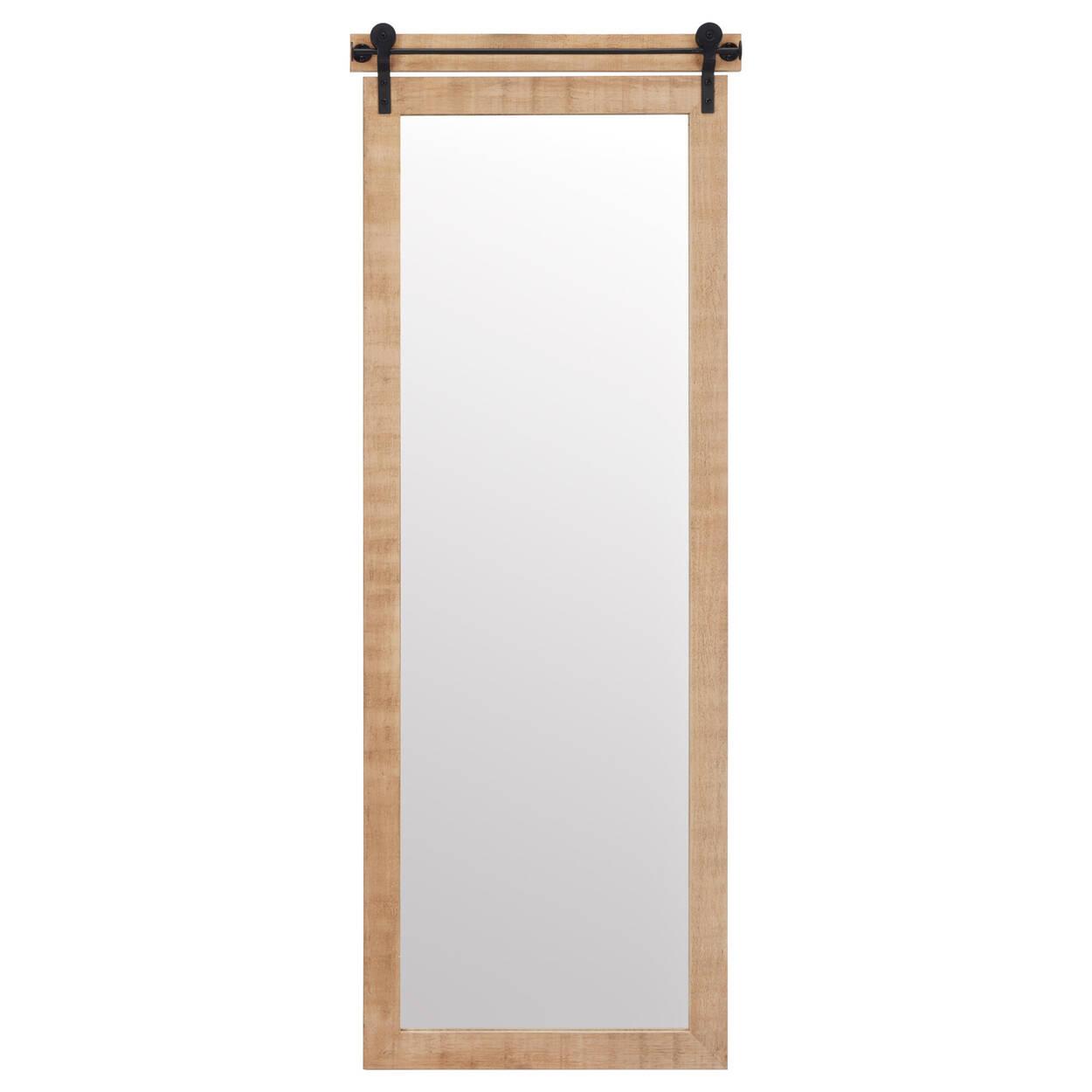 Natural Barn Door Style Mirror