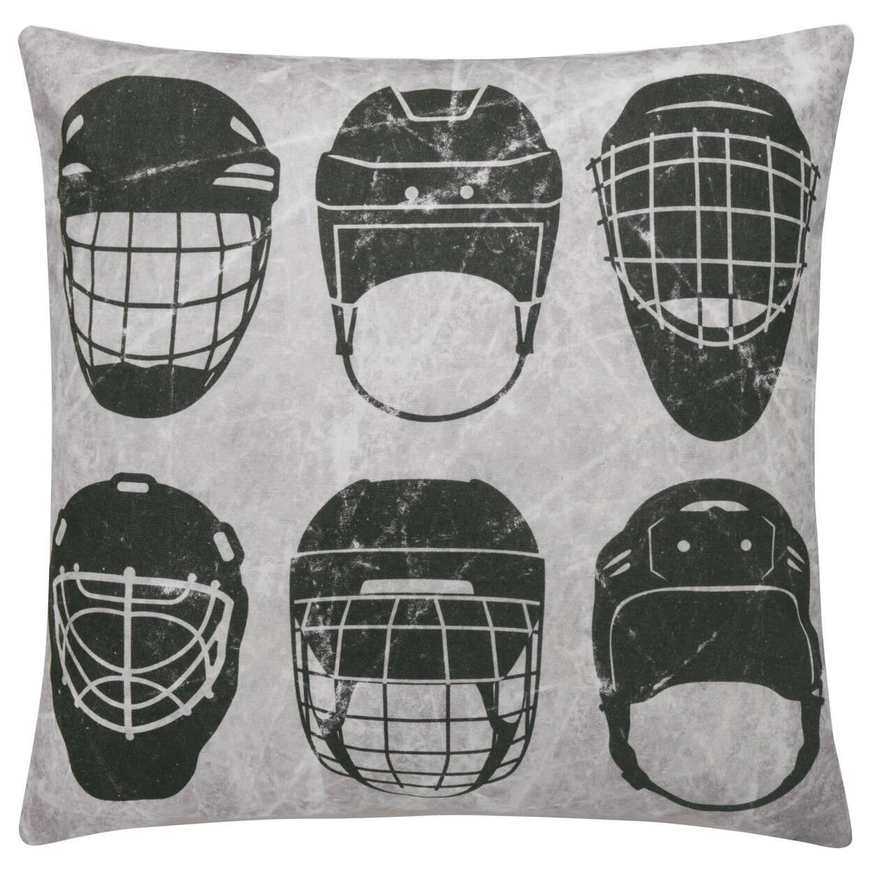 """Hockey Helmet Decorative Pillow 19"""" x 19"""""""