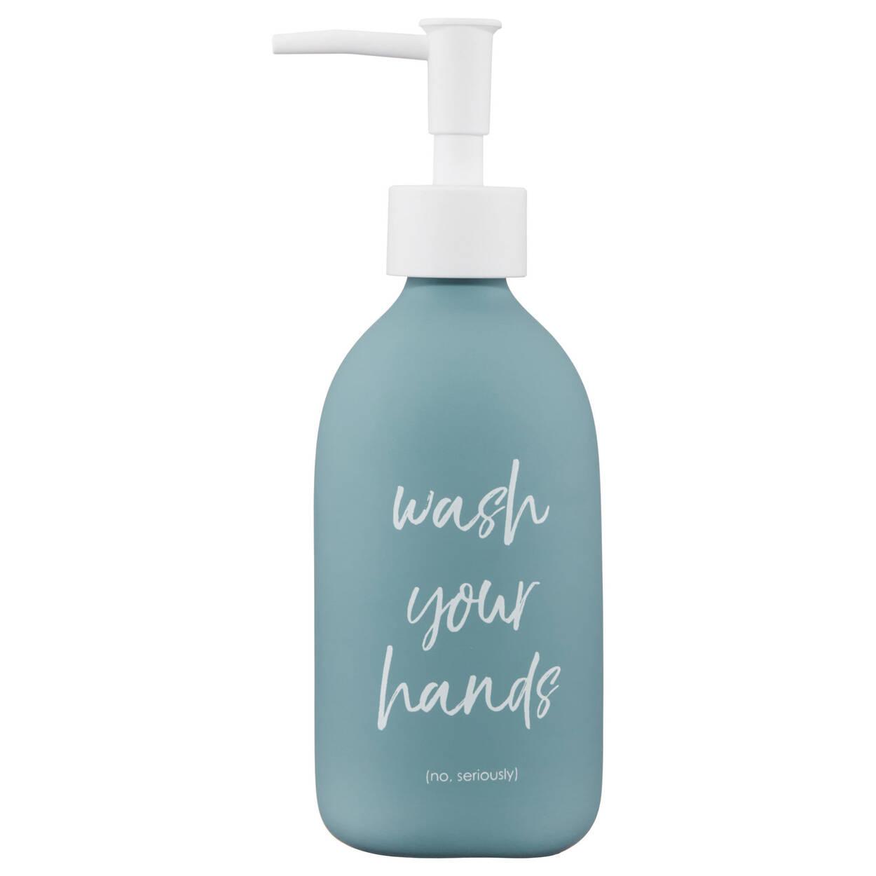 Distributeur de savon avec fini en caoutchouc et typographie
