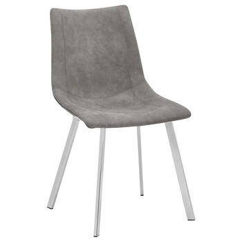 Textured Faux Leather and Chrome Dining Chair