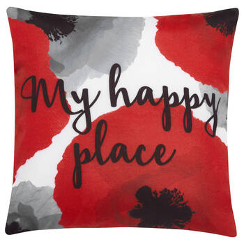 "Happy Place Water-Repellent Decorative Pillow 18"" X 18"""