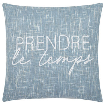 "Prendre le Temps Embroidered Decorative Pillow 19"" X 19"""
