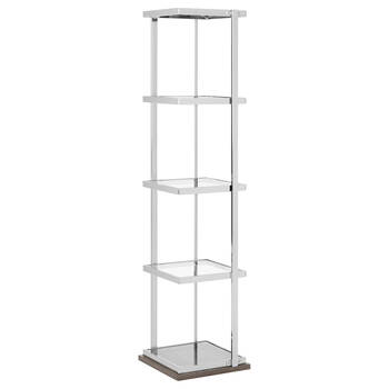 Chrome and Glass Shelf with Laminated Wood Base