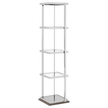 Chrome and Glass Shelf with Laminated Wood Base