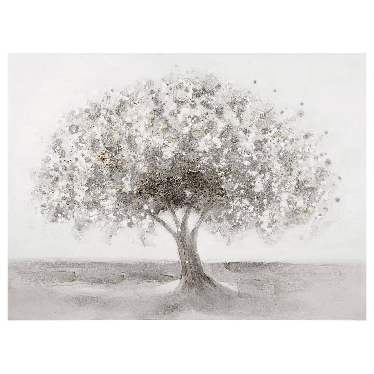 Tableau arbre peint à l'huile avec embellissements
