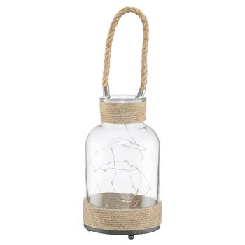 LED Glass and Rope Lantern