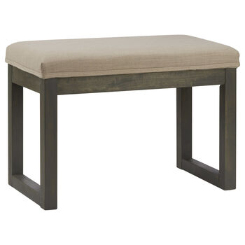 Fabric and Rubber Wood Bench