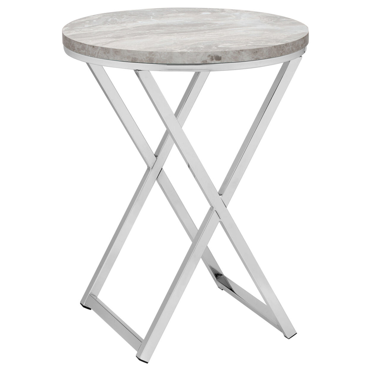 Round Marble-Finish and Chrome Side Table