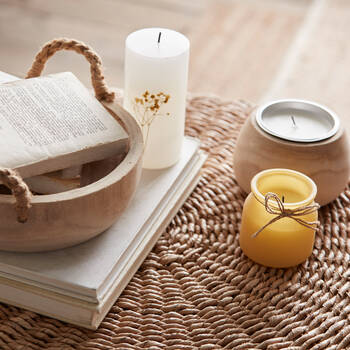 Speckled Yellow Glass Candle Holder with Candle