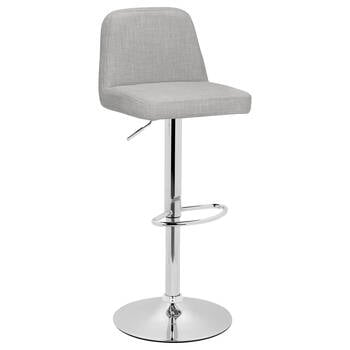 Chita Fabric and Chrome Adjustable Stool