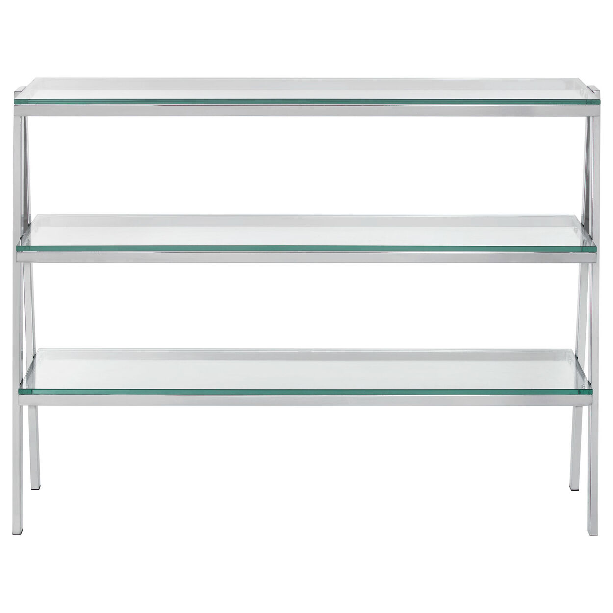 3-Shelf Tempered Glass and Metal Console Table