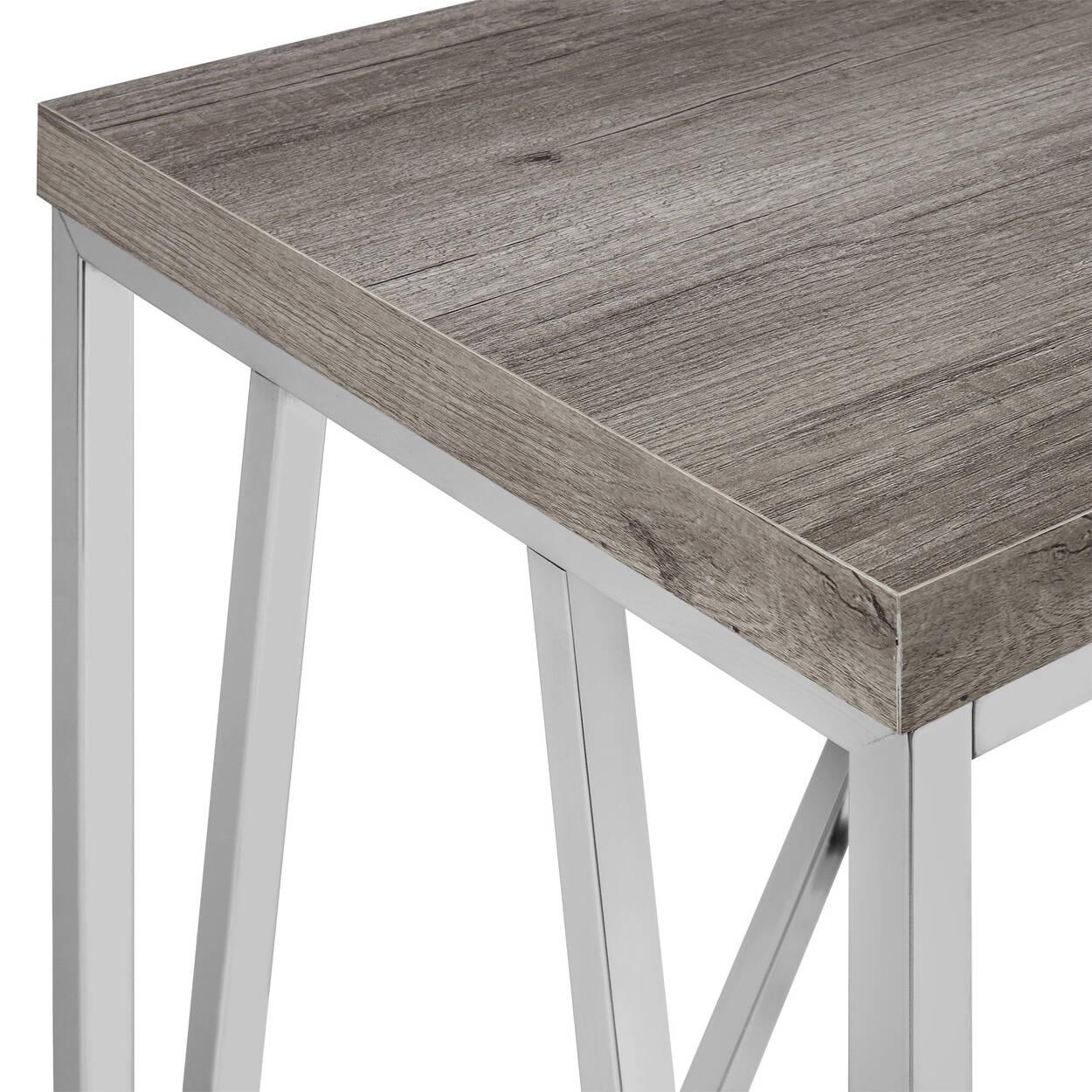 Console en bois laminé et en chrome