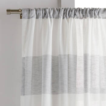 Striped Rod Pocket Sheer Curtain