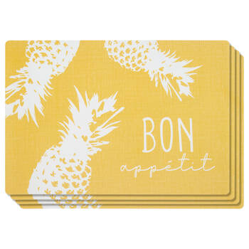 Set of 4 PVC Pineapple Placemats