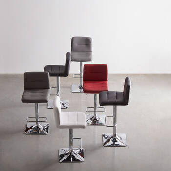 Matte Faux Leather and Metal Adjustable Bar Stool