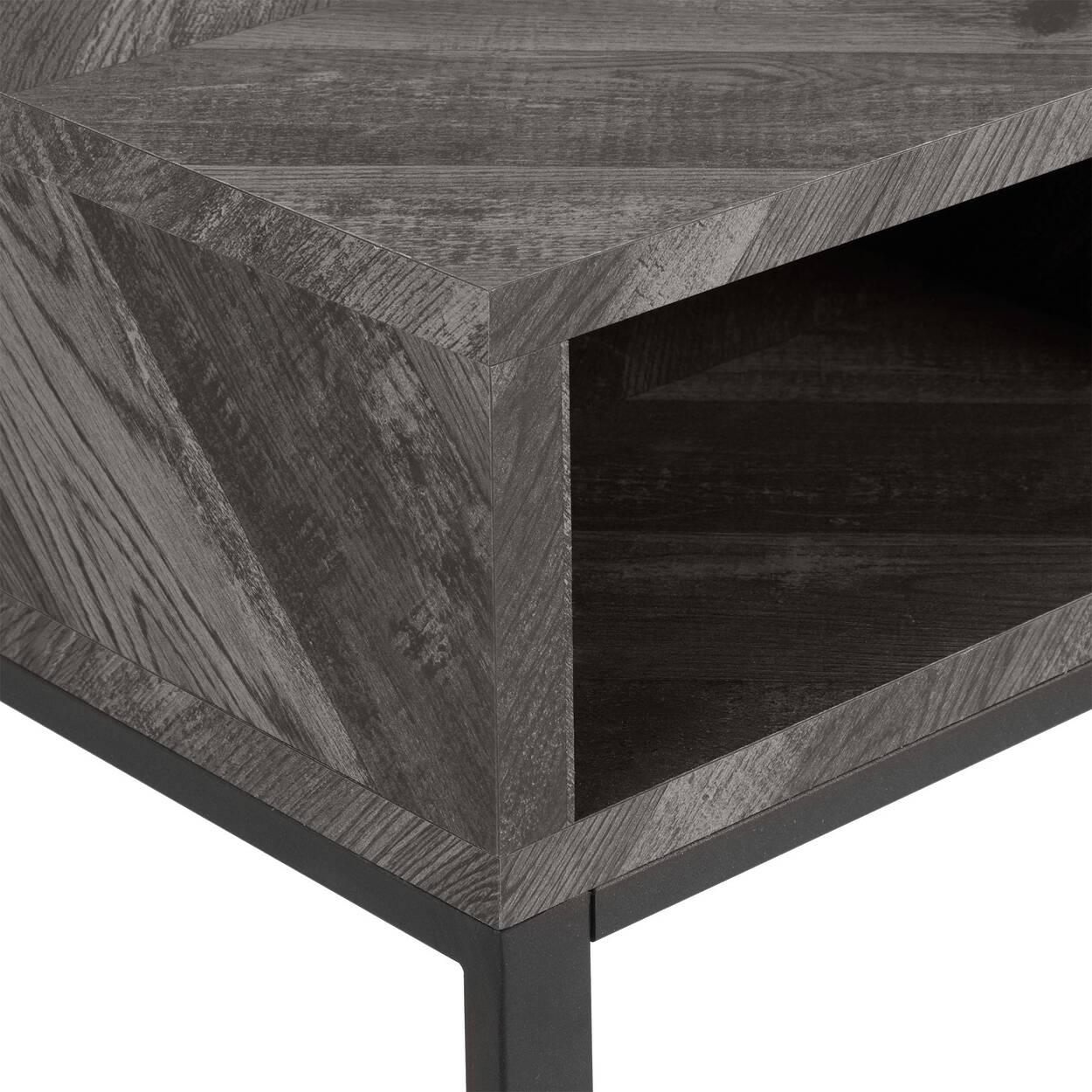 Chevron Veneer and Iron Console Table with Three Cubbies
