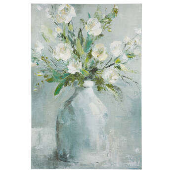 Gel Embellished Bouquet in Vase Printed Canvas