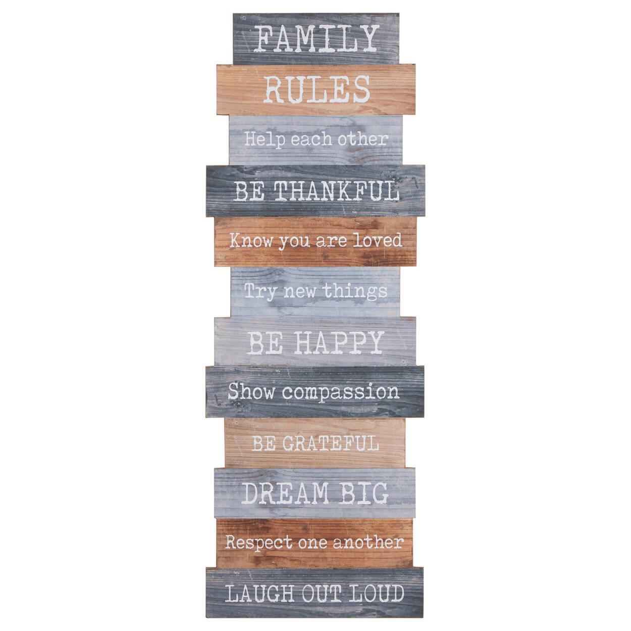 Art mural en bois Family Rules